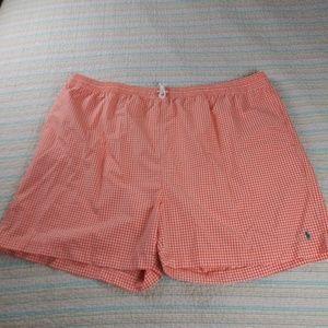 Polo Ralph Lauren 5XB Big Orange Plaid Swim Trunks
